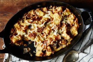 Bread pudding with cheese and mushrooms