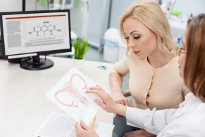 55379248 - skillful gynecologist is giving consultation to her patient. she is showing a picture of uterus to her with seriousness. the young woman is looking at paper with concentration
