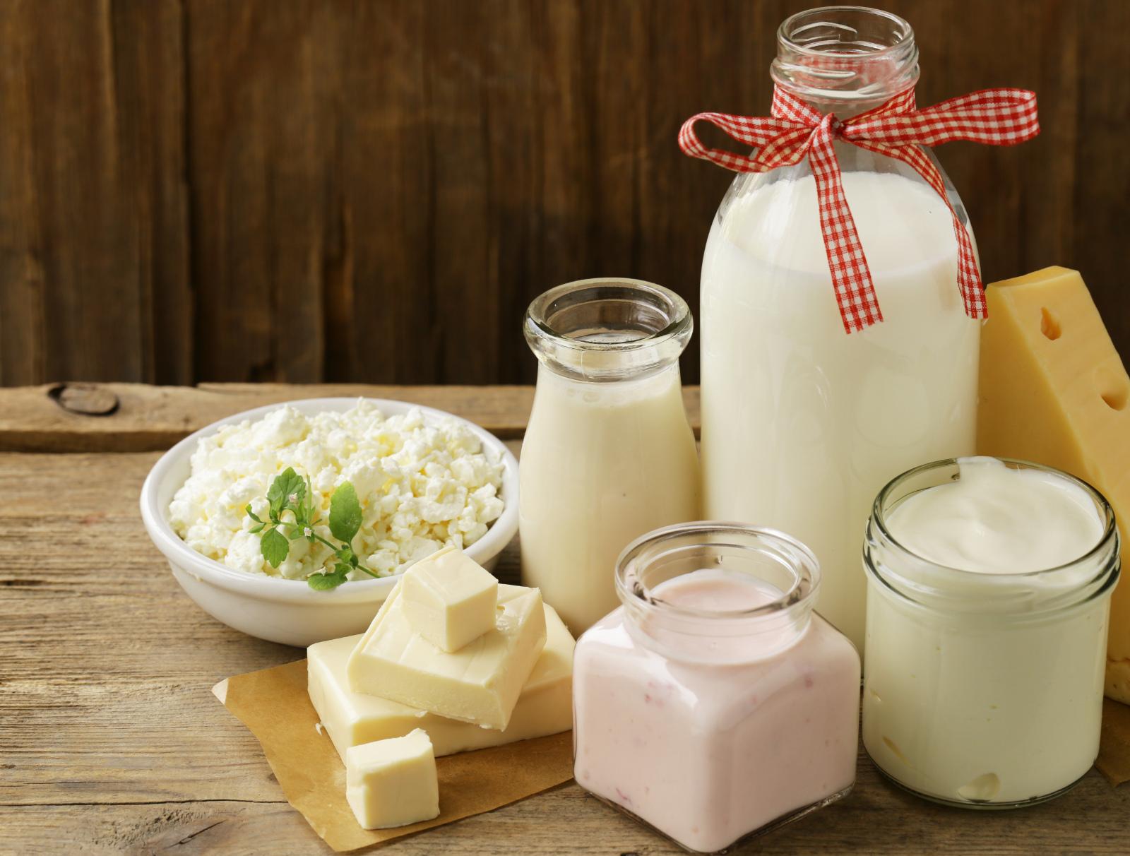 organic dairy products - milk, sour cream, cottage cheese, yogurt